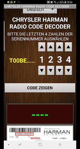 Chrysler Harman T00BE Serial Radio Code Decoder - captura de ecrã 2