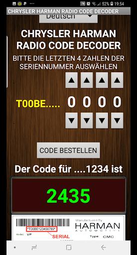 Chrysler Harman T00BE Serial Radio Code Decoder - captura de ecrã 3