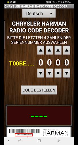 Chrysler Harman T00BE Serial Radio Code Decoder - captura de ecrã 0